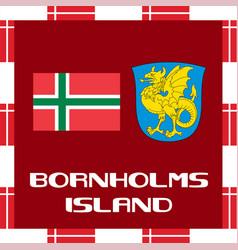 National ensigns of denmark - bornholms island vector