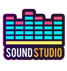 neon sound studio digital equalizer background vec vector image