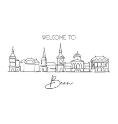 one continuous line drawing bern city skyline vector image