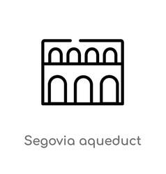 Outline segovia aqueduct icon isolated black vector