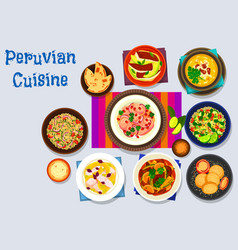 peruvian cuisine icon with seafood dishes vector image vector image