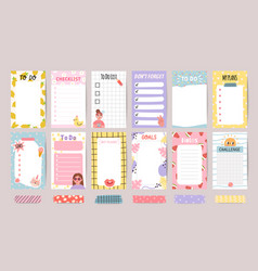Planner list notes weekly to do lists and daily vector