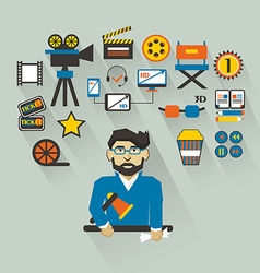 Profession of people Flat infographic Filmmaker vector image