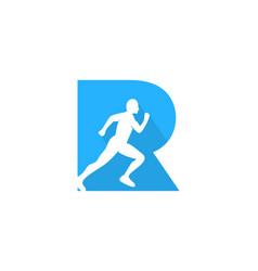 R letter run logo icon design vector