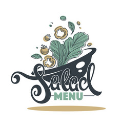 Salad bar menu logo emblem and symbol lettering vector