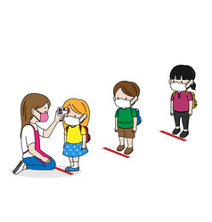 School children lining up with distance to measure vector
