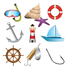 sea related icons vector image