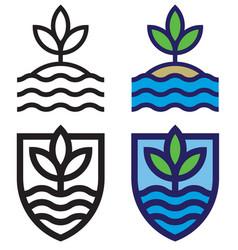 set land sea and sky mono-line emblems vector image