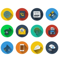 Set of communication icons in flat design vector image