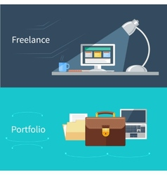 Set of flat concept for portfolio and freelance vector