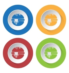 Set of four icons - hamburger with melted cheese vector