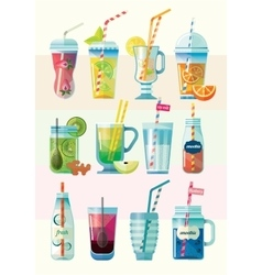 Set of Summer Fresh Smoothies vector image