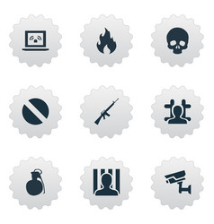 set simple fault icons vector image