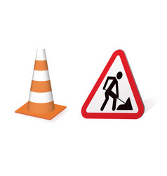 sign road works and cone vector image