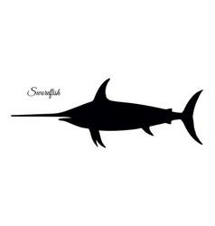 Silhouette of swordfish vector