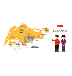 Singapore map and landmarks with people in vector