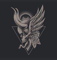 skull horned vintage vector image