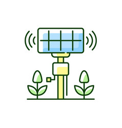 Smart agriculture sensors rgb color icon vector