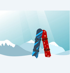 Snowboard in the ski mountain resort vector