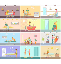 Spa salon manicure and barber posters set vector