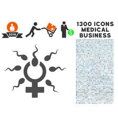 Sperm penetration icon with 1300 medical business vector