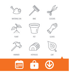 sprout plant scissors and pot icons vector image