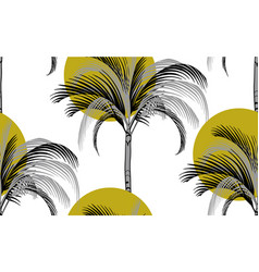 sun and palm tropical pattern on white background vector image