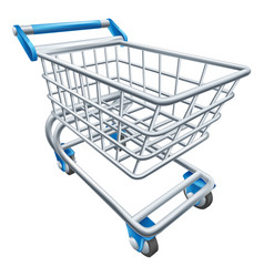 Supermarket shopping cart trolley vector