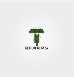 T letter bamboo logo template creative design vector
