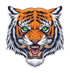 tiger head in japanese style vector image