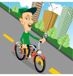 urban biking - teenage boy and bike in city vector image