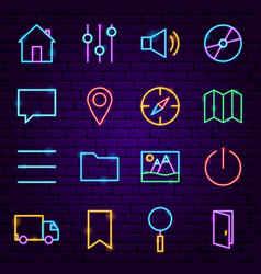 User interface neon icons vector