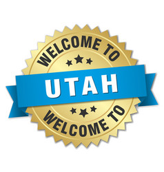 Utah 3d gold badge with blue ribbon vector