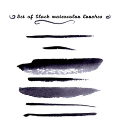 Watercolor design element black brush vector
