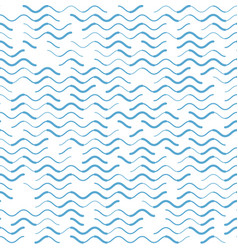 Wave blue lines various strokes seamless pattern vector