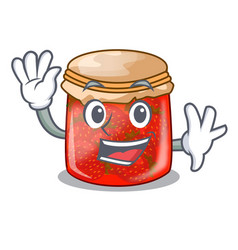 Waving strawberry marmalade in glass jar of vector
