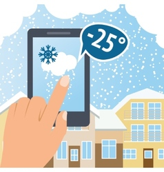 Weather smart phone snow vector image