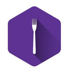 white fork icon isolated with long shadow purple vector image