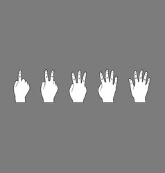 white hand gesture cartoon style vector image