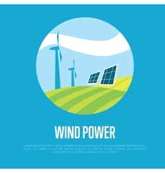 Wind power banner Clean resources concept vector