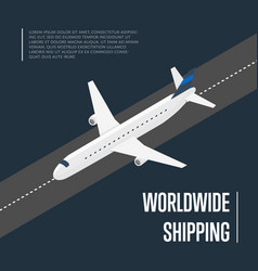 worldwide shipping isometric banner with plane vector image