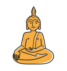 Yellow buddha statue vector