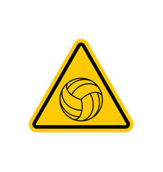 Attention volleyball danger yellow road sign vector