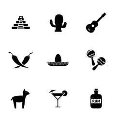 black mexico icons set vector image