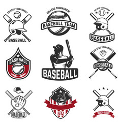 set of baseball emblems baseball bats helmets vector image