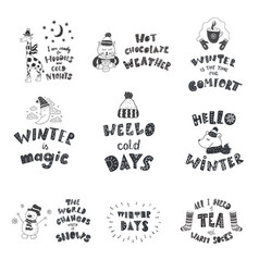 set of cute animals and winter quotes nursery art vector image vector image