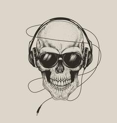 skull in headphones listen a music vector image vector image