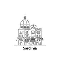 the island of sardinia european houses vector image