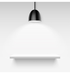 Black ceiling lamp and empty white shelf on a vector image vector image