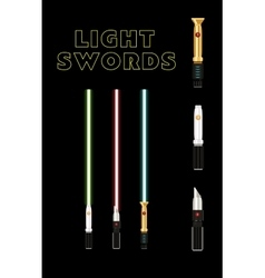 light future swords set Laser green blue and red vector image